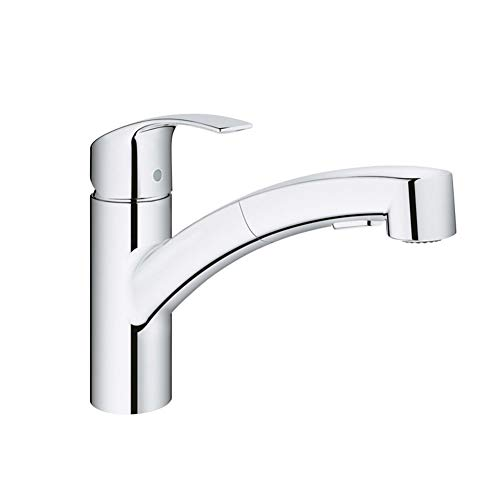 Küche Taps Sink Mixer Faucet Pull Out Spray Kitchen Mixer Taps 360 Degree Swivel Spout Sink Faucet Hoses Single Lever Chrome Modern Commercial Faucet - Chrome Commercial Commercial Single