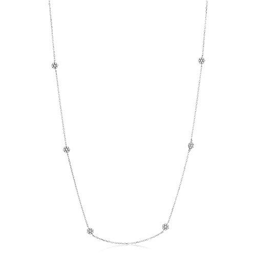 Orovi Collana Donna con Catena Collana - Pendente - Ciondolo in Oro Bianco con Diamanti Taglio Brillante Ct 0.29 Oro 9 Kt / 375 Catenina Cm 45