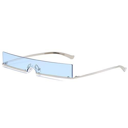 SYQA Kleine Sonnenbrillen Damen Herren Sonnenbrillen Retro Damen Brillen Randlos Schattierungen Rechteck Rot Schwarz Blau Sonnenbrille,A1