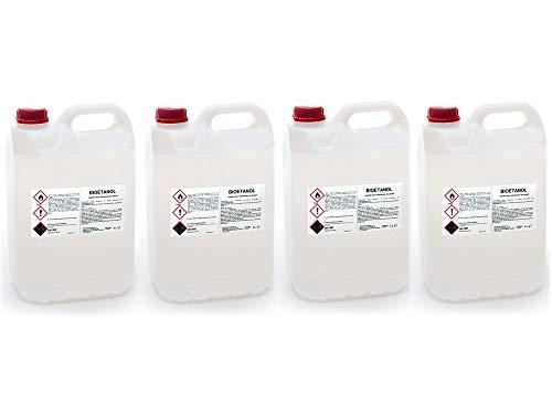 FIRSTLINE Bioetanol 4 Garrafas x 5 litros, Ideal para biochimeneas, Estufas, lámparas y barbacoas...