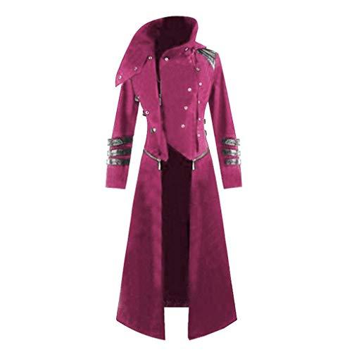Realde Herren Langarm Hoodie Pullover Gothic Steampunk mit Kapuze Retro-Trenchcoat Party Kostüm Frack Gericht Jacke Mantel Gotischen Bankett Bequem Kleidung Top Outwear Coat Bluse