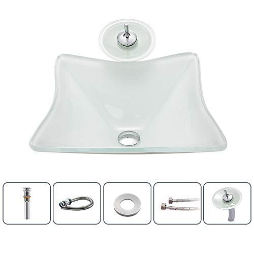 Slivy Platz Kegelform Künstlerische Badezimmer-Behälter-Eitelkeits-Wanne über Gegen Ausgeglichenes Glas Waschbecken mit Wasserfall Wasserhahn, Pop-up-Ablaufgarnitur, und stilvolle Klosettschüssel