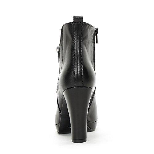 Alesya Scarpe&Scarpe - Stiefeletten mit Absatz und Seitlichem Reißverschluss, Leder, mit Absätzen 10 cm Schwarz