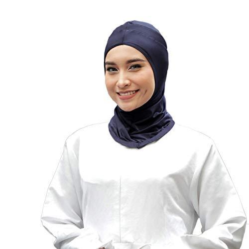 ATTIQA - Hijab Sport für verschleierte muslimische Frauen I Kopftuch islamischen Schal Schleier Turban Pashmina Hut Schal Abaya I Cardio-Fitness-Athleten - Dri-FIT Stretch I Marineblau Einheitsgröße