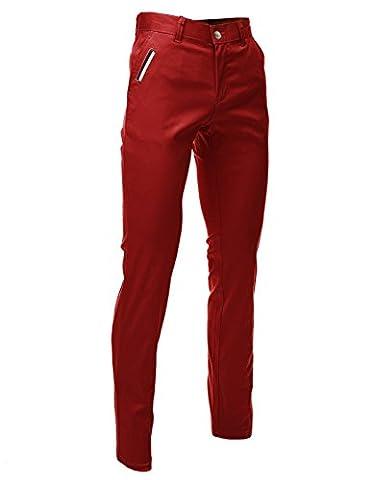 FLATSEVEN Mens Slim Fit Chino Pants Trouser Premium Cotton Blend