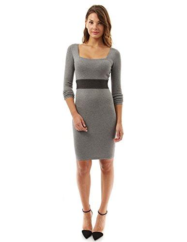PattyBoutik Pullover Kleid mit langen Ärmeln und Empire -Taille grau und dunkelgrau