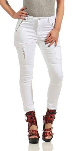 e130acef690699 11300 Fashion4Young Damen Jeans Röhrenjeans Hose Damenjeans Boyfriend  Cargohose (S 36