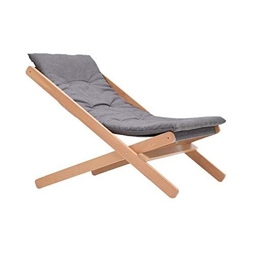 YQQ-Faules Sofa Lounge-Sessel Klappstuhl Leisure Beach Tragbarer Strandkorb Aus Holz Garten Balkon Terrasse Terrasse Bequemes Camping (Color : Gray)
