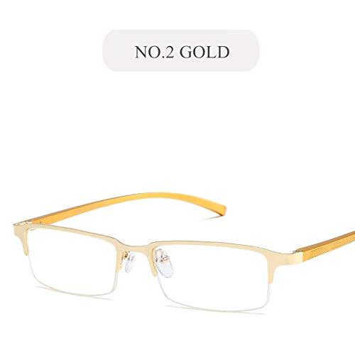 YMTP Anti Blau Licht Gläser Rahmen Männer Business Brillen Aluminium Magnesium Metall Blau Film Flach Spiegel Brillenfassungen, No2 Gold