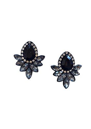 Happiness Boutique Damas Pendientes Llamativos con Diamante de Imitación Pendientes de Botón en Color Negro para Fiestas la Oficina o Entre Semana Prime Libres de Níquel