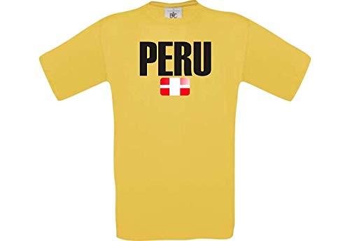 Shirtstown Man Camiseta Fútbol Camiseta de País Perú - Amarillo, S