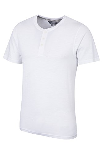 Mountain Warehouse Henley Slub Mens Tee Bianco