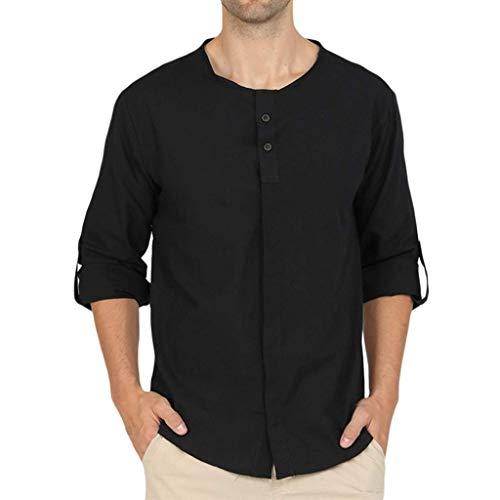 UFACE Herren Baggy Baumwolle Leinen Hemden Langarm Knopf Retro V Neck T Shirts Tops Oberteile