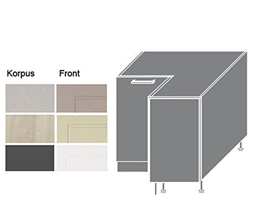 Eck Unterschrank Küchenschrank 90cm Korpus- und Frontfarbe wählbar 16935 (Q-D12/90)