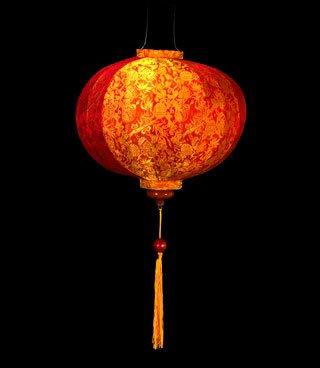 IndoChine Laterne Runde Mandarin-Laterne, klein. (Laterne Seide Kleine)