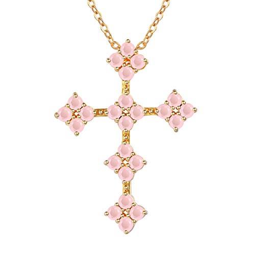 Suplight Runde Anhänger Halskette 18k vergoldet Taube und Kreuz Kettenanhänger mit 55cm Venezianierkette für Damen Frauen