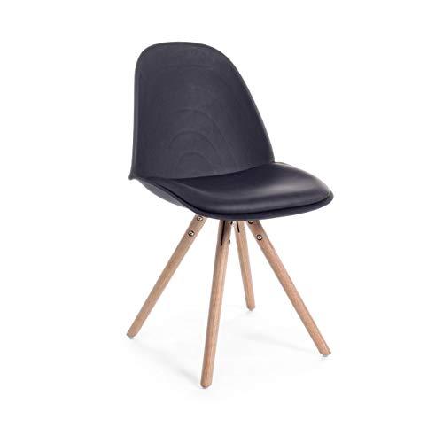 ARREDinITALY Lot de 4 chaises Design Jambes Bois avec Assise et Coussin Noir