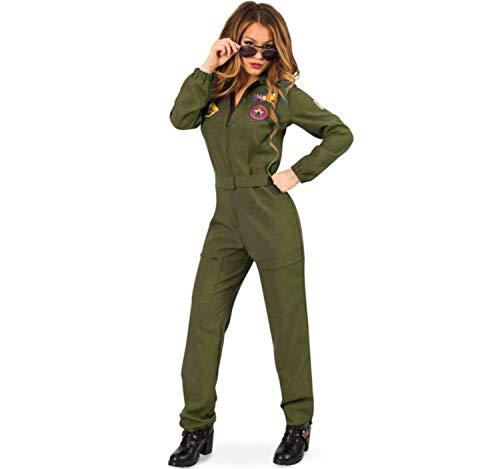 KarnevalsTeufel Kampfpilotin Overall in Olivengrün für Frauen mit Brille (38)