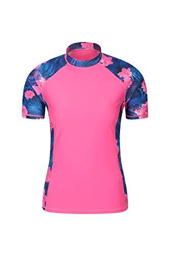Flache Damen Shirt (Mountain Warehouse Gemustertes Damen-Wassersportshirt - Kurzarm-Schwimmshirt für Damen, UPF 50+, schnell trocknend, Flache Säume, Stretch-Sommertop - ideal zum Schwimmen Dark Pink DE 38 (EU 40))