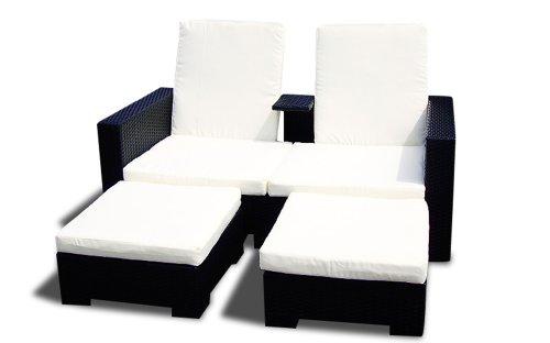 Gartenmöbel Polyrattan Lounge RATTAN SOFA 'PARMA'   Hotel 2 Qualität (Schwarz)