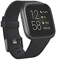 Fitbit Versa 2 Health & Fitness Smartwatch with Voice Control, Sleep Score & Music, One Size, Black