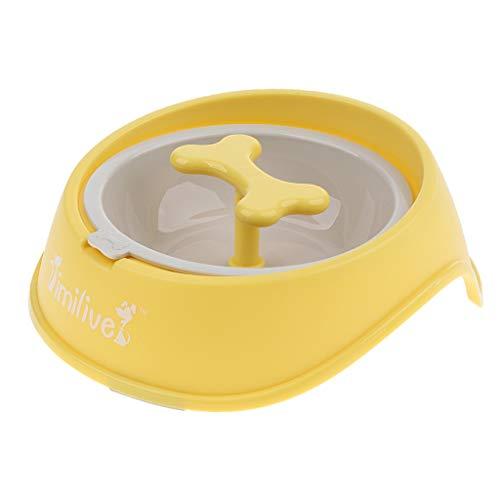 Sharplace Hundenapf Katzennapf Anti Schling Napf für die langsame Fütterung, Interaktiver Futternapf Fressnapf mit Rotierendem Knochen für Katze & Hunde - Gelb -