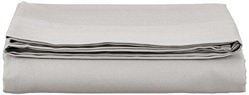 AmazonBasics Bettlaken, Baumwoll-Satin Fadenzahl 400, knitterarm, 180 x 290 + 10 cm - Grau