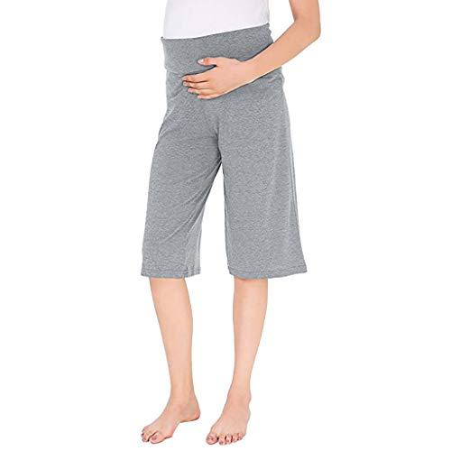 Ulanda-EU Frauen Mutterschaft Breite Gerade Hosen Umstandsshorts Umstandshose Vielseitige Komfortable Lounge Hosen Stretch Schwangerschaftshose Damen 1/2 Umstandsleggins -