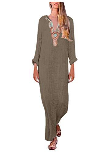 Yvelands Langes Kleid Gedrucktes langärmeliges V-Ausschnitt der Frauen Maxikleid ()