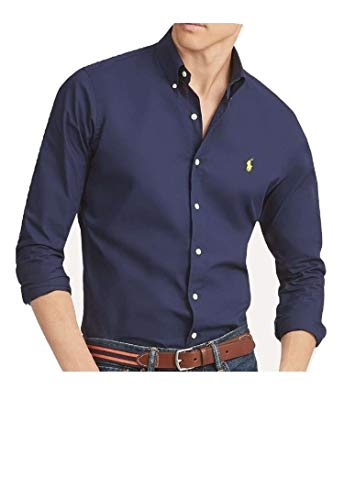 Ralph Lauren Shirt Navy Blue Poplin Classic Fit X-Large