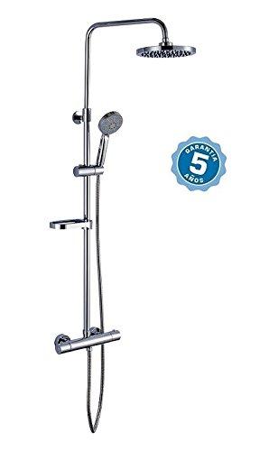 Conjunto de ducha con grifo termostatico,barra y rociador con garantia de 5 años