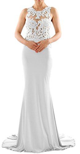 MACloth Women Mermaid Long Lace Jersey Long Prom Dress Formal Party Evening Gown (EU34, Blanco)