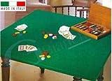 GBiancheria COPRITAVOLO Mollettone Panno Gioco Poker col. Verde Rettangolare x12 Made in Italy