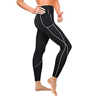 Gotoly High Waist Out Pocket Yoga Pants Tummy Control Workout Running Leggings (Black, Large)