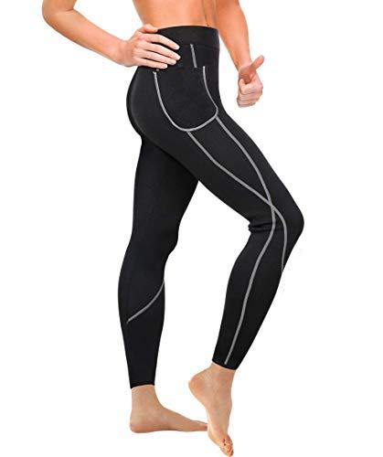 Gotoly Damen Neopren Saunahose Gewichtsverlust Sport Hose Abnehmen Leggings Yoga Jogging Fitness Hot Thermo Sweat Gym Tights Wear Workout Body Shaper mit Taschen (M, schwarz)