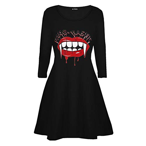 Halloween Kostüm Ladies Smock Flared Swing Dress Damen Vampir-Horror-Blut Lässiges Vampir-Horror-Blut Party Yebutt (Serviette Mit Blut Kostüm)