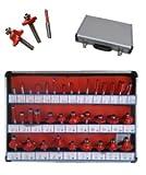 Frese pantografo / fresatrice verticale / Punte lavorazione legno set 30 pezzi in box di legno gambo 8mm (Cod.:3975)
