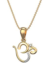 Silvernshine Om' Pendant With Chain In 14k Yellow Gold Fn 1.2 Ct Round Cut White Sim. Diamond