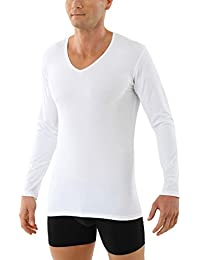 ALBERT KREUZ Camiseta Interior de Manga Larga Cuello en V de algodón orgánico elástico Blanco
