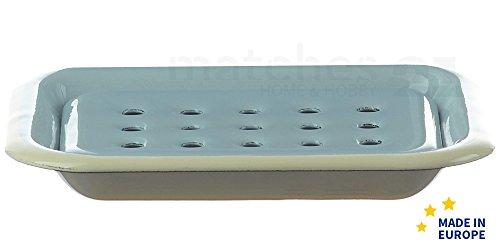matches21 Email Seifenunterlage rechteckig/Retro Emaille Seifenschale zum Stellen blau 13 x 10 x 2 cm