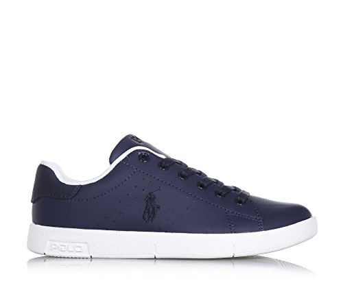 Polo Ralph Lauren Bilton Youth Navy Leather Trainers Bleu