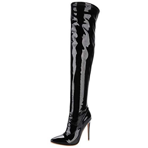Lack High Heel Stiefel (Artfaerie Damen Overknee High Heels Stiletto Stiefel mit Reißverschluss und Spitze Lack Lang Boots Moderne Party Schuhe(EU 41,Schwarz))