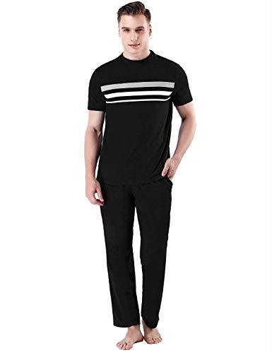 Abollria Schlafanzug Herren Kurz Schlafanzug Zweiteiliger Baumwolle Schlafanzüge Shorty Pyjama Anzug Shirt Lang und Hose Kurz -