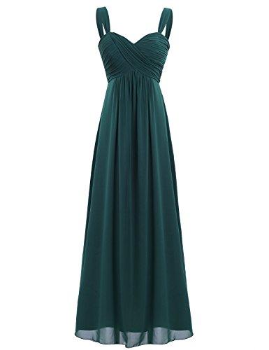 Freebily Vestido Elegante de Boda Fiesta Cóctel para Mujer Dama de Honor Vestido Largo Verano Verde Oscuro 46