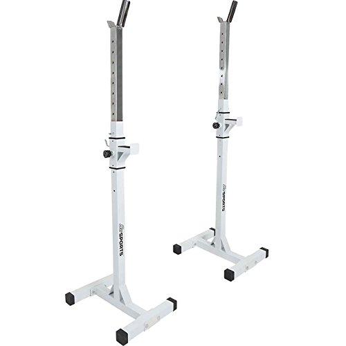 ScSPORTS 113H0010 - Soporte con dos pies para halteras largas, color blanco