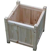 PACK DE 2 maceteros grandes de madera para uso en interiores o exteriores