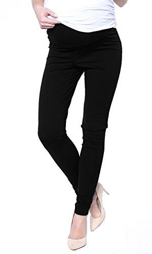 Elegante schwarze Damen Slim Umstandshose mit Bauchband