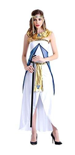 Honeystore Damen Halloween Kostüme Kleopatra und Griechischen Göttin Cosplay Allerheiligen Kleider Weiß L (Piraten Frisuren)