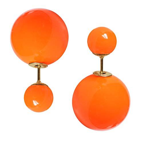 Modeschmuck Doppelperlen Ohrstecker Ohrringe in verschiedenen Neonfarben Farbe Neonorange
