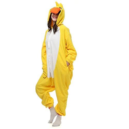 Kigurumi Männer Damen Pyjama Kostüm Overall Plüsch Overall Tier Verkleidung für Erwachsen, Gelbe Ente (Flauschige Ente Kostüm)